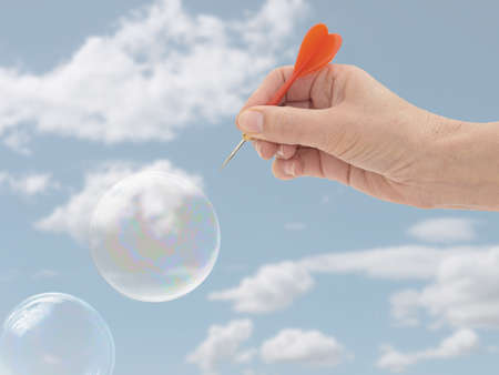 Metaphor. Burst my bubble. Financial or economic or general. Stock Photo