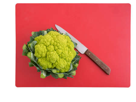 Green cauliflower. Healthy vegetable high in vitamins, minerals and micro nutrients. Stock Photo