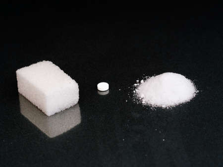 Sugar, aspartame sweetener and fructose. Sweet health choices. Stock Photo