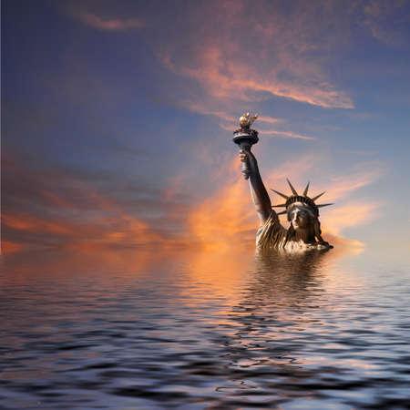 気候変動米国構想。明らかに、イメージをフィルター処理します。沈む夕日。