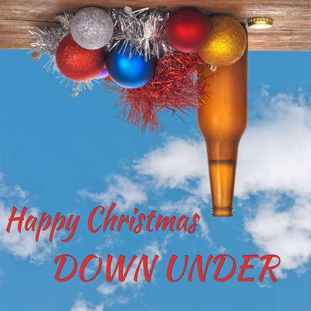 Fun design, Christmas down under. Australian card. Banco de Imagens