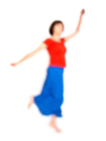 흐릿한 여자 춤, 흰색 배경입니다. 밝은 옷. 측면보기. 스톡 콘텐츠