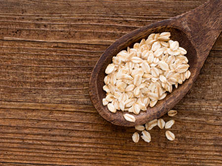 Organic rolled oats. Healthy food, reduces cholesterol. Overhead view.