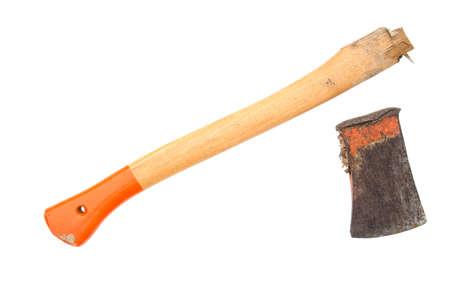 Broken axe, ax. Isolated on white. 스톡 콘텐츠