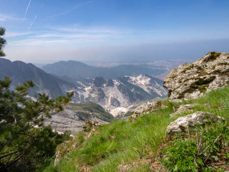 Landscape view of the marble quarries above Carrara, Italy.