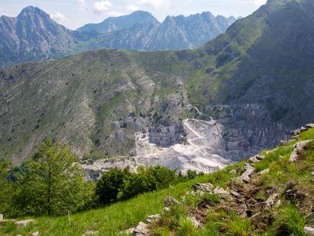Carrara marble quarry. Industrial landscape. Environmental destruction.