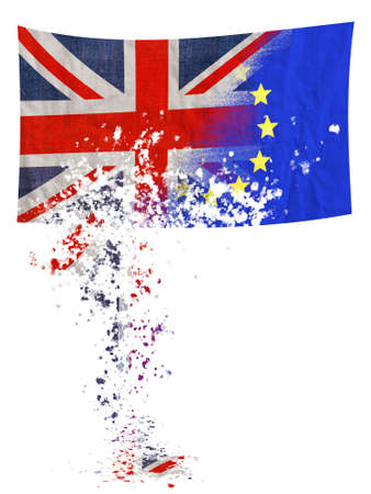 Brexit, EU UK negotiation turning to dust, falling apart. Flags over white. Stock Photo