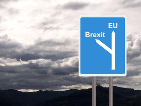 Brexit, EU road sign against cloudy sky. Concept, politics UK.