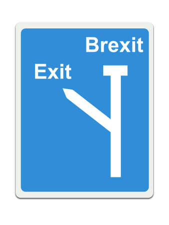 Stop Brexit, EU road sign on white background. Concept, politics in UK. Stock Photo