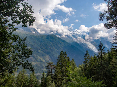 Mont blanc and the European Alps near Chamonix, Haute Savoie, France. Mountains seen through trees from the popular footpath petit balcon sud ie small south trail.