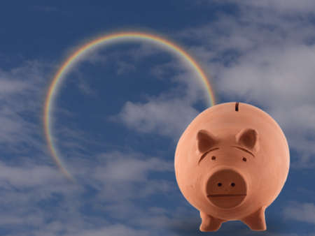 Terracotta pig money box with cloudy sky and rainbow. Money management, investment concept. Aka piggy bank. 스톡 콘텐츠