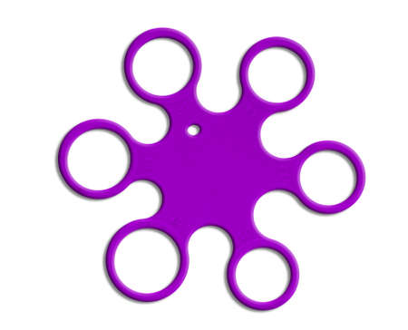 Plastic ring size measure device, purple on white background. For home use. Banque d'images