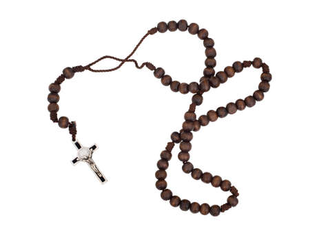 Rosary isolated on white background. Christian cross, crucifix, wooden beads.