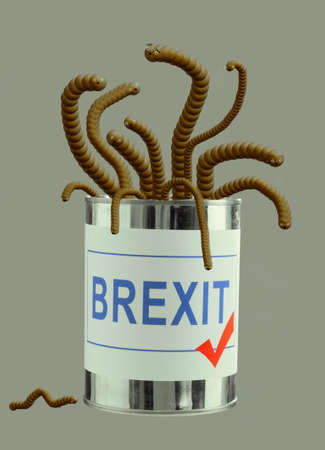Brexit can of worms. Concept, metaphor UK EU politics. Cute critters.