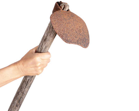 Female hand wields rusty old hoe isolated on white. Vintage agricultural tool.