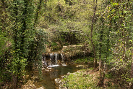The waterfall at the village of Fornoli, on the Via Francigena pilgrim route in Lunigiana, north Tuscany, Italy.