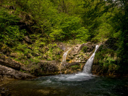Cascate di Fiacciano aka Bozzi delle Fate. Translation: Fiacciano waterfalls, aka The Fairy Ponds . Near Fivizzano in Lunigiana, north Tuscany, Italy.
