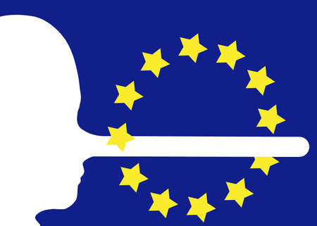 EU, Europe or Referendum etc. Lies, fake news concept. Face in profile with long nose from telling fibs. Media disinformation etc.