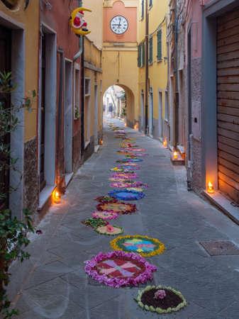 Local village religious festival for Corpus Christi, June 23 2019. Streets are decorated with flowers prior to procession. La Serra, Liguria, Italy.
