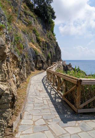 Coastal path in the Cinque Terre, Five Lands, Liguria Italy. Riomaggiore. Popular tourist destination. Note - NOT the Via dell Amore. 写真素材