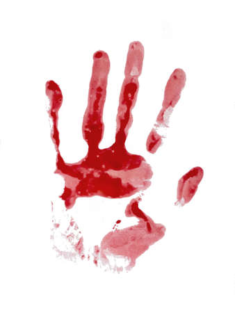Bloody hand print, isolated on white. Female. Reklamní fotografie