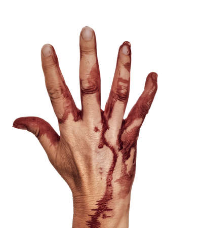 Bloody hand, isolated on white. Female. Halloween etc.