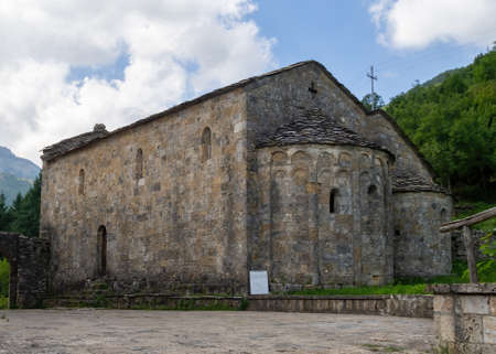Ancient church in Vagli Sotto, in Garfagnana, Italy, here seen from the rear. Dedicated to St Augustine it dates back to the 11th century.