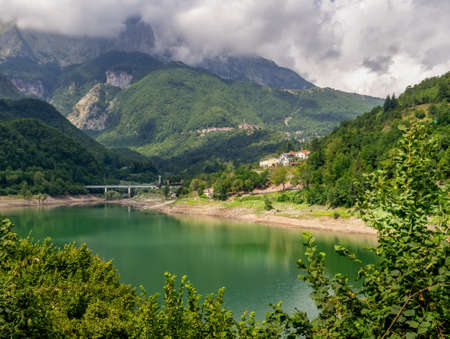 View of Lago ie Lake Vagli in Garfagnana, province of Lucca, Italy. Near Vagli Sotto village. Actually a madmade reservoir for hydroelectric energy.