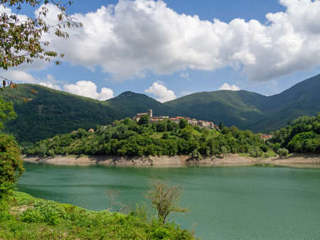 View of Vagli Sotto village and Lake Vagli in Garfagnana, province of Lucca. Hidden gem for nature lovers, hikers etc.