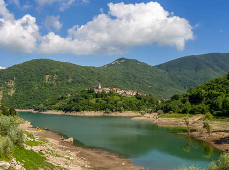 Wide view of Vagli Sotto village and Lake Vagli in Garfagnana, province of Lucca. Hidden gem for nature lovers, hikers etc.