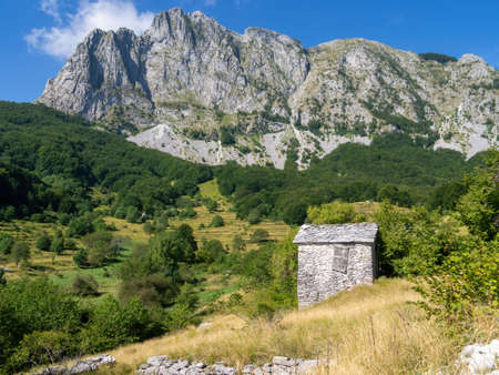 View of Campocatino in the Apuan Alps, aka Vagli Sotto. Beautiful forgotten gem in Garfagnana, Italy. Off the beaten track.
