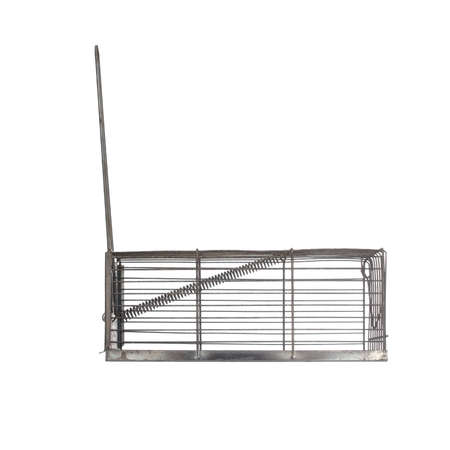 Humane type mousetrap, side view, isolated on white. Trap not set.