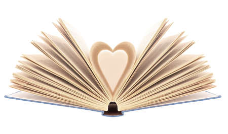Book with opened pages in shape of heart, isolated on white background. Bibliophilia.