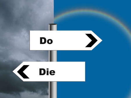 Do or Die signpost. Tory, Conservative party policy EU and UK Brexit negotiations. Storm or rainblow, blue sky. Concept.