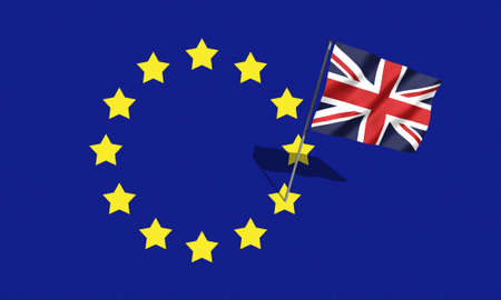 EU UK flag, Brexit, sovereignty concept. Referendum.