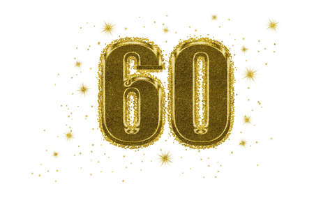 60, sixty number in gold with glitter and golden stars, isolated on white background. Ideal birthday, anniversary.