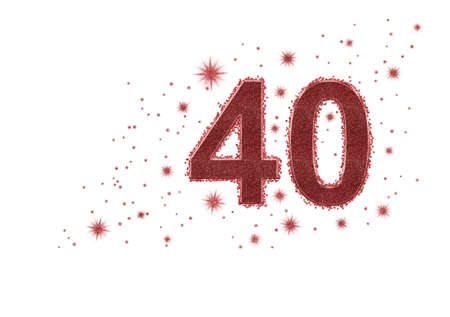 40, forty number in red with glitter and golden stars, isolated on white background. Ideal birthday, ruby wedding anniversary.