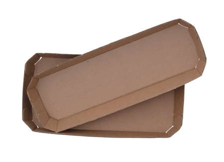 Cardboard, card food containers, trays. Ecological, brown paper packaging. Isolated on white background. Two items.