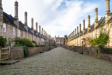 Historic Vicars Close in Wells, Somerset. Spring 2020.