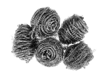 Metal scourers for domestic cleaning. Isolated on white.