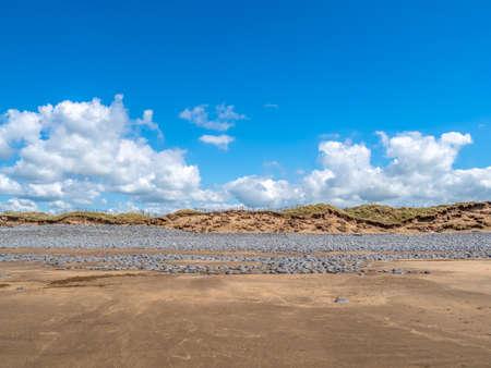 Wide view of Pebble Ridge and beach, Northam Burrows, North Devon.