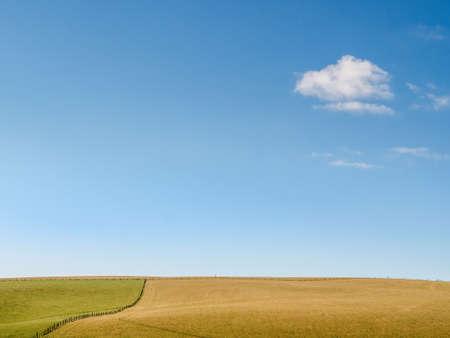 Minimalist meadow, field landscape, with blue sky and small cloud. England. Standard-Bild