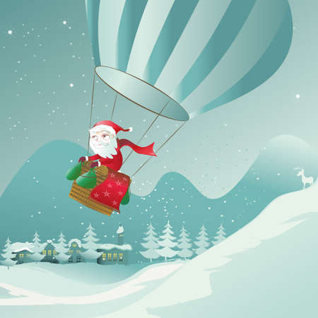 santa claus is landing with the hot air balloon Vector