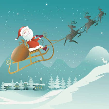 santa claus is flying with his reindeer sleigh Vector