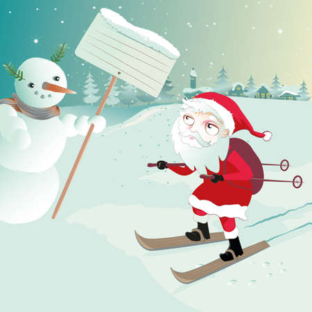 santa claus on ski asks the snowman for the route Vector