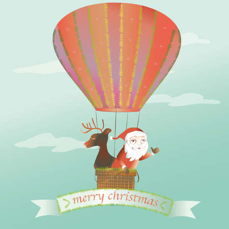 santa claus and reindeer flying with a christmas ball Vector