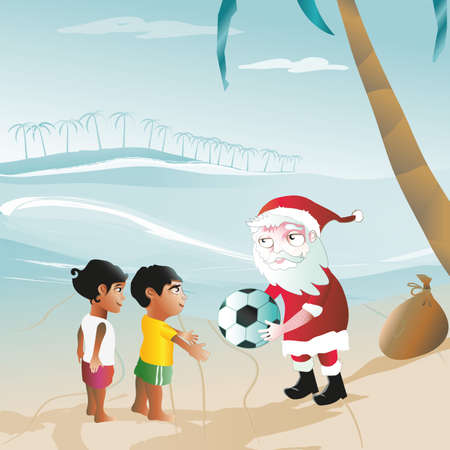 santa claus brings the football to brazil Vector
