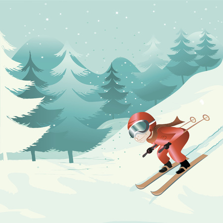 snowcapped mountain: downhill skiing Illustration