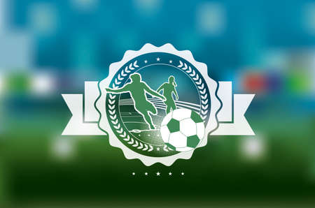 globally: woman soccer champions icon on blurred background