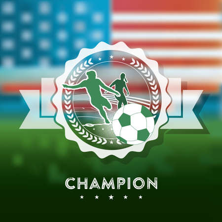 globally: woman soccer champions icon on blurred US Flag